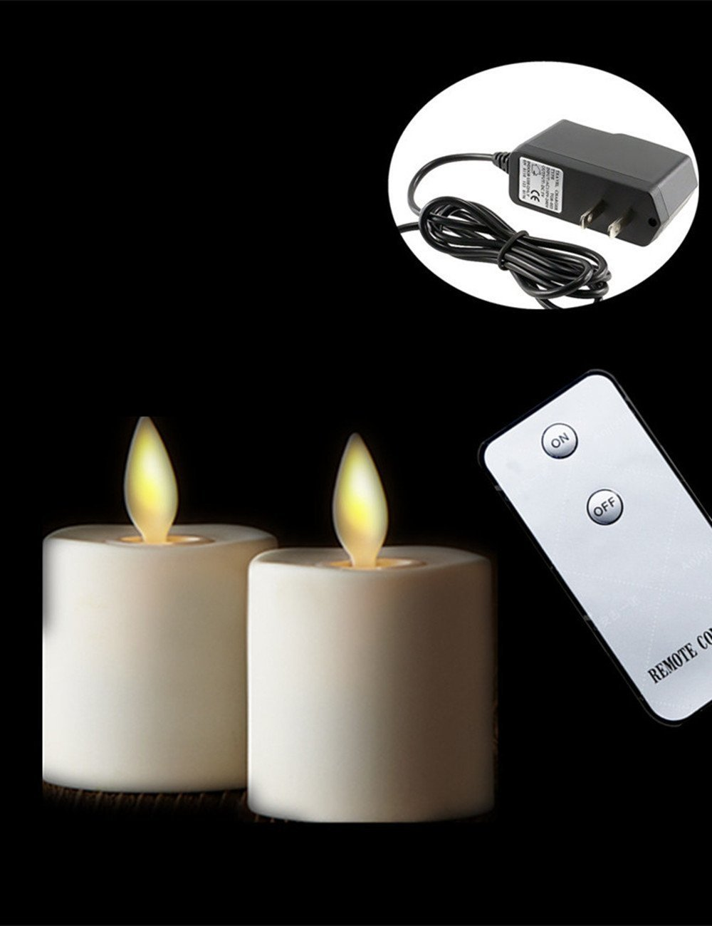 Set of 2 Moving Wick Flameless Rechargeable Tea Light LED Candle with Remote Control (white)