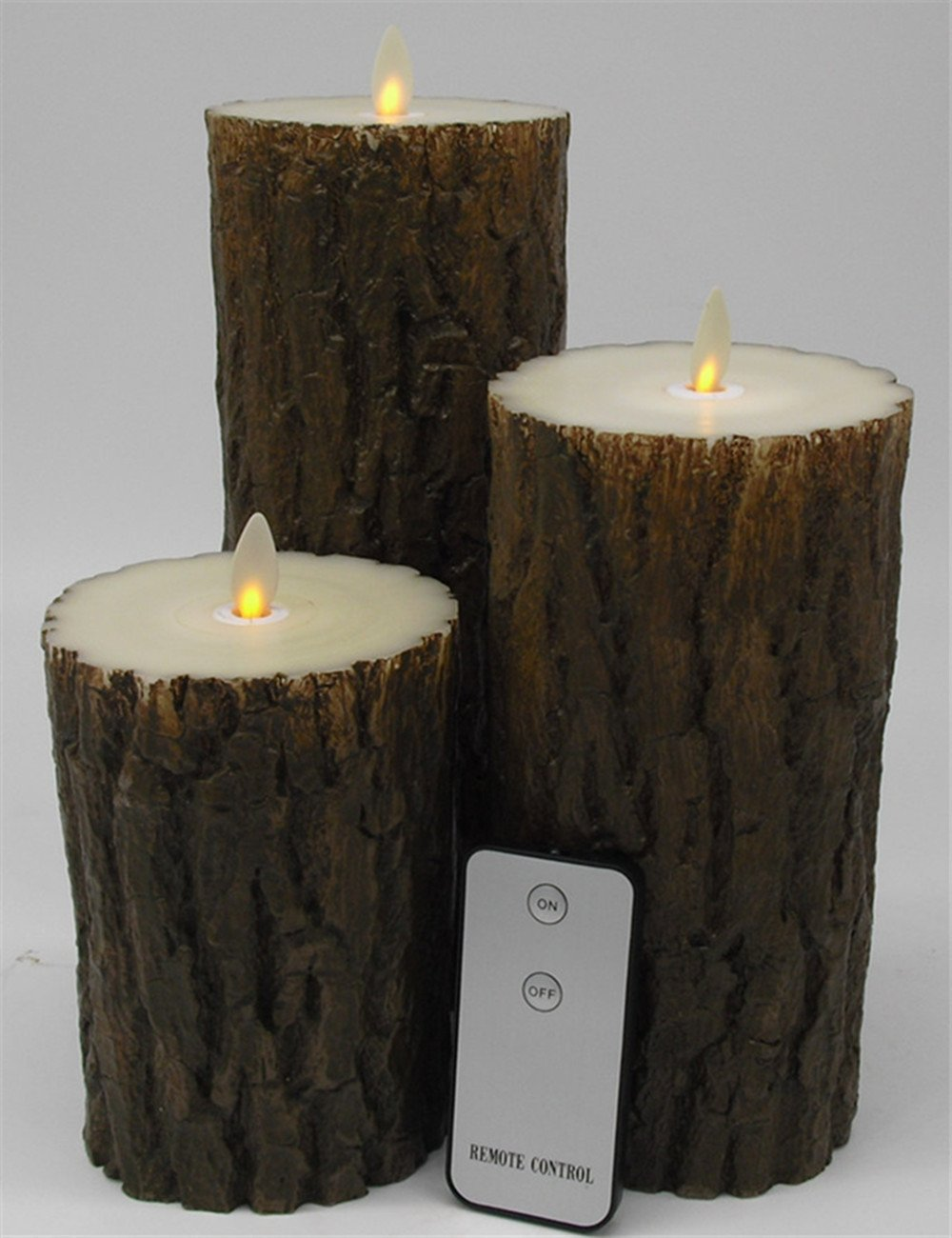 Set of 3 Barky Flameless Wax Battery Operated LED Candles with Remote Control (3.5''*5''&7''&9'')