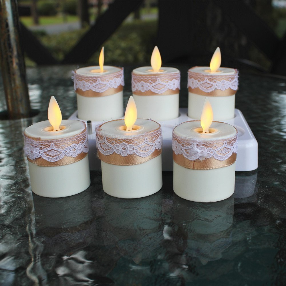 Set of 6 Rechargeable Flameless Moving Wick LED Tea Light Candles with Remote Control and Lace