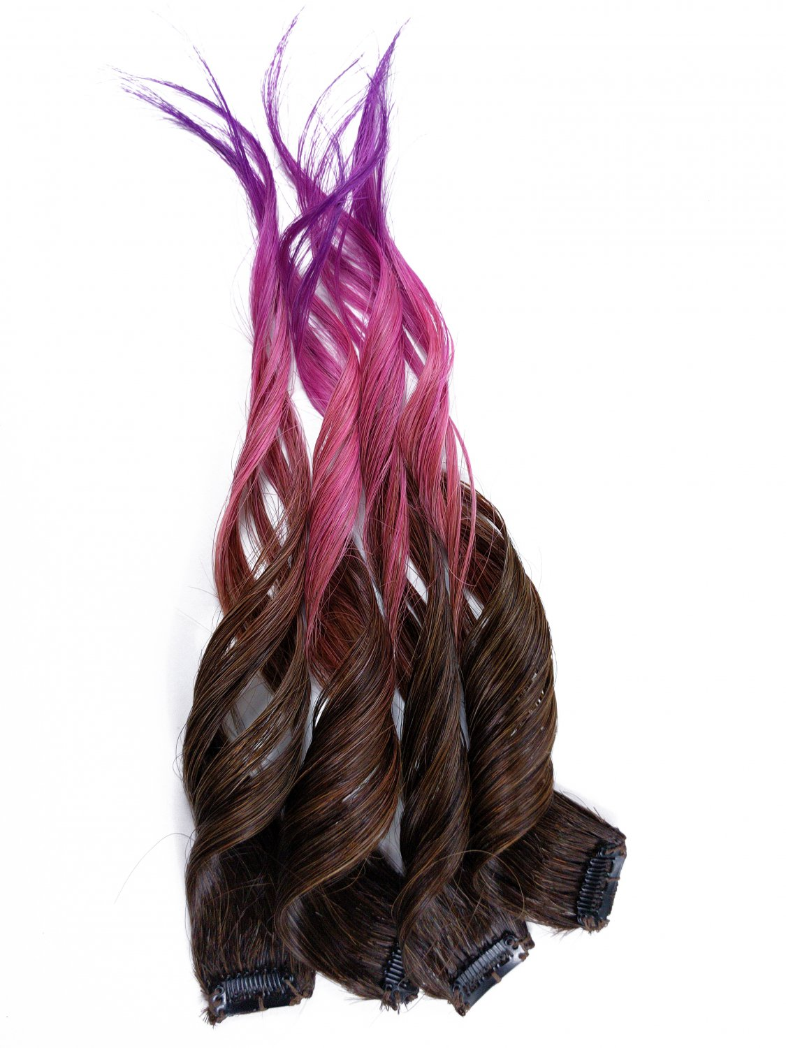 "10inch ""Pixie Tip"" 100% Human Hair Rainbow Clip in Ombre Extensions"
