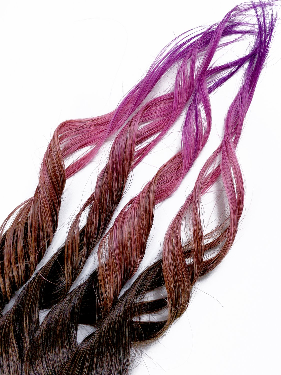 """18inch """"Pixie Tip"""" 100% Human Hair Rainbow Clip in Ombre Extensions"""
