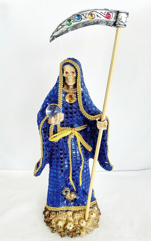 14 Inch Blue Statue La Santa Santisima Muerte Holy Death Grim Reaper Figurine