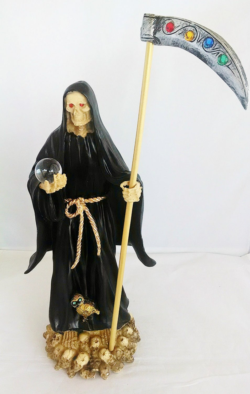 14 Inch Statue of La Santa Muerte Negra Holy Death Grim Reaper Black Imagen