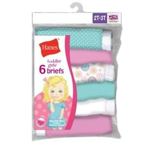 Hanes TAGLESS Toddler Girls' Cotton Briefs 6-Pack TP30AS