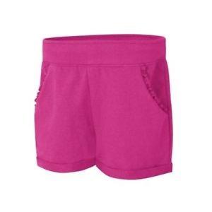 Hanes Girls' CottonSummer Ruffle Pocket Shorts in Amaranth, Size Medium KOK263