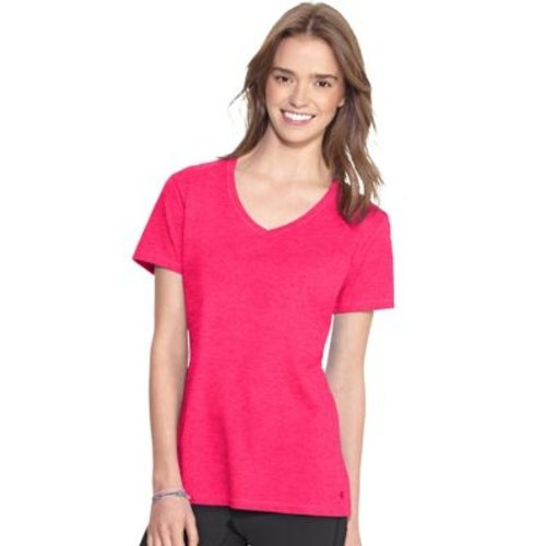 Champion Authentic Women's Jersey V-Neck Tee HBI_CH8875 Medium, Color Pink Bloom