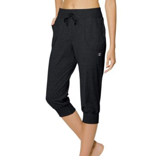 Champion Authentic Women's Jersey Banded Knee Pants, Black, Size: XL