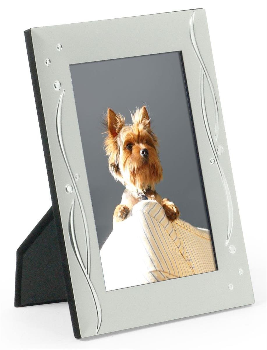 Elegant Silver 4x6-Inch Photo Frame with Glass Lens, Aluminum