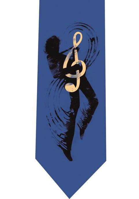 Treble Clef Guitar Tie - model 1 blue