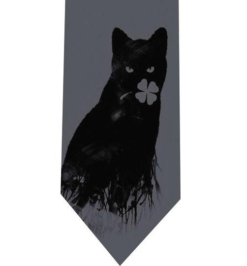 Clover Cat Grey Tie - Model 9