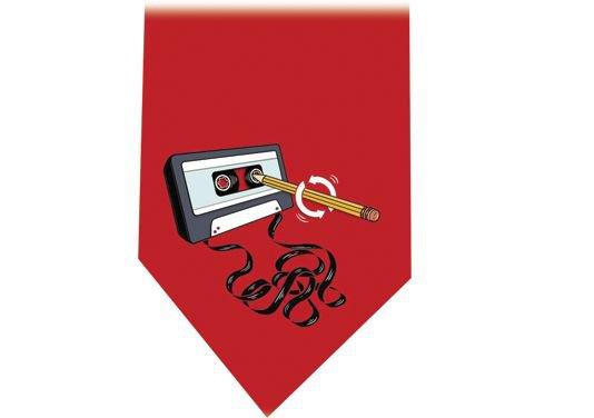 Cassette Tape & Pencil Tie - Audio Retro red