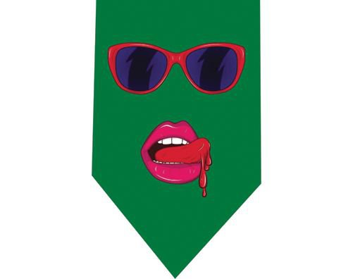 Woman lips pop Tie - Model 2 Green