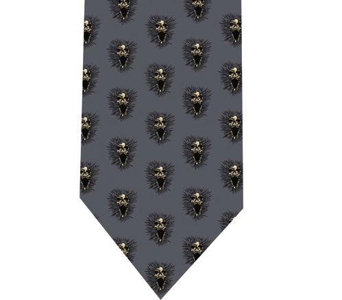 Screeming Skull Tie - Model 2 Grey