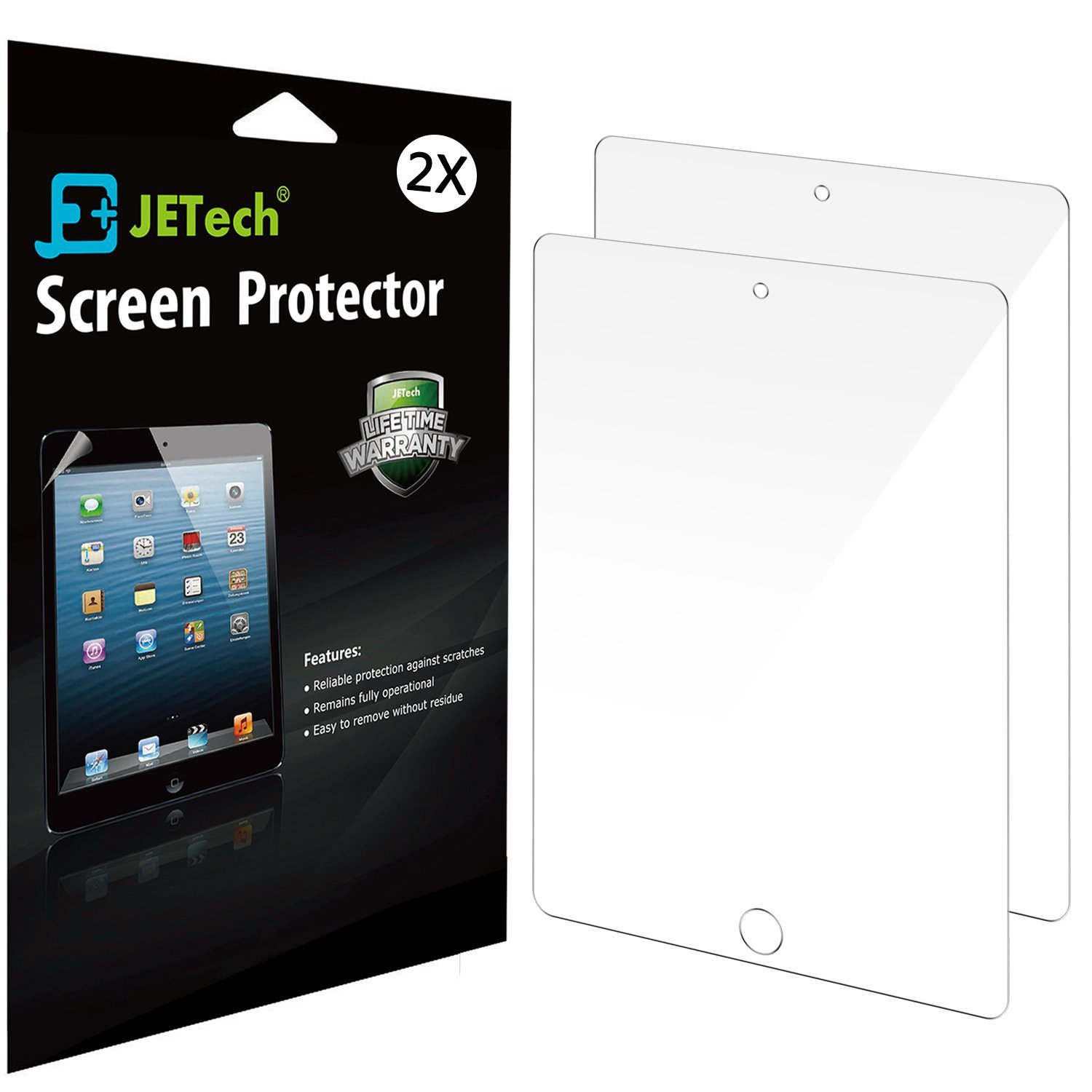 JETech 2-Pack Screen Protector Film for Apple iPad 2/3/4, Bubble Free Installation (HD Clear)