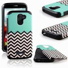 Alcatel One Touch Fierce 2 Case, Ranz Teal Waves Pattern DeSIGN With STYLUS