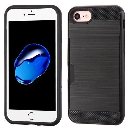 Black/Black Brushed Hybrid Protector Cover(with Card Wallet) for APPLE iPhone 7