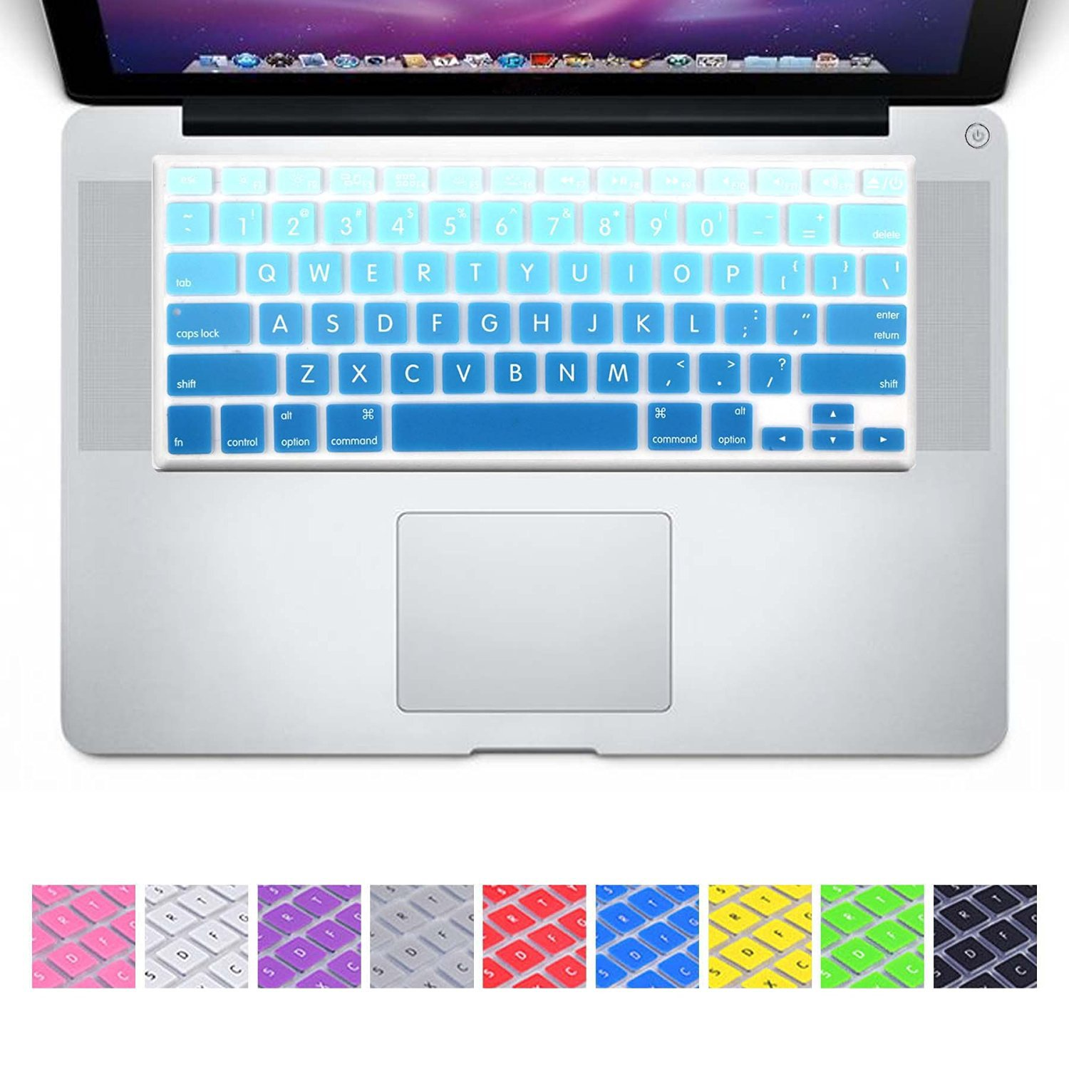 """DHZ Big Font Sky Blue Gradient Keyboard Cover Silicone Skin for MacBook Air 13"""""""