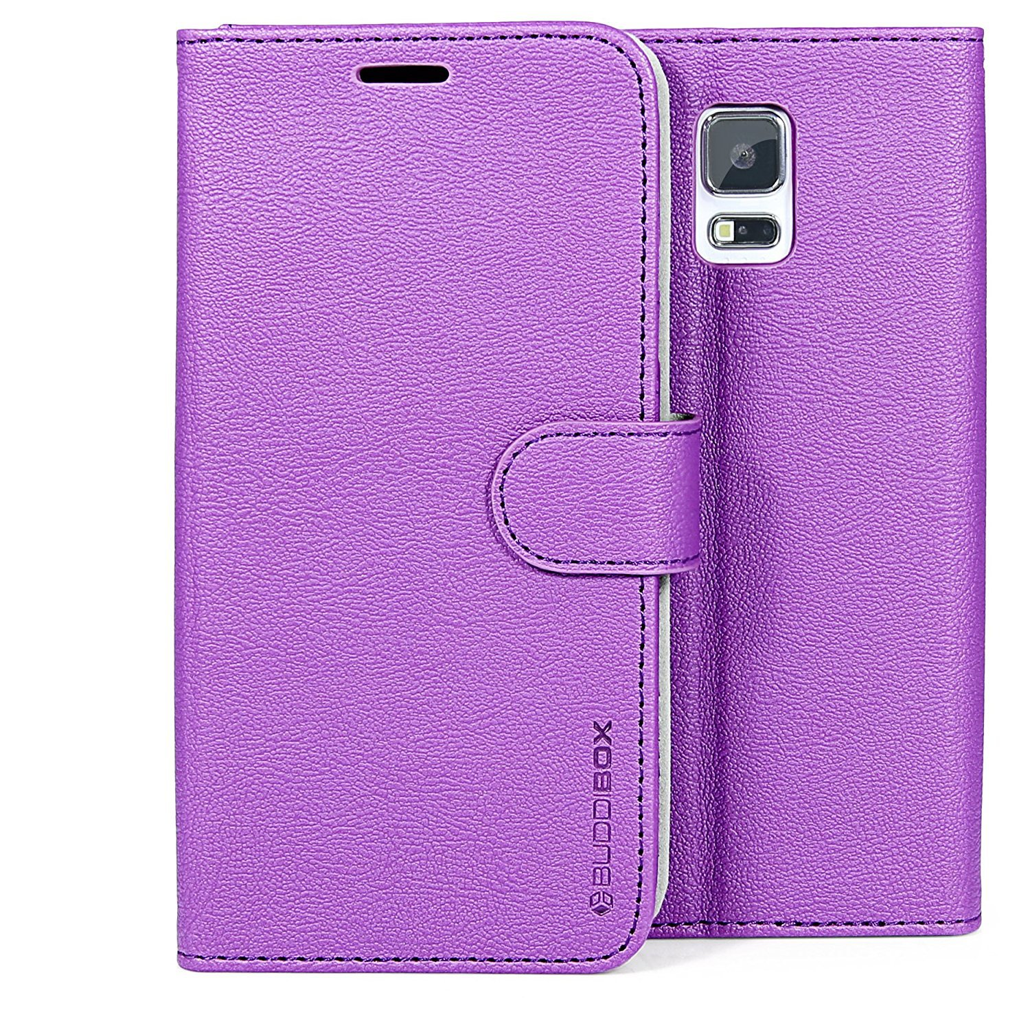 BUDDIBOX for Samsung Galaxy S5 Premium Leather Case with HD Screen Protector (Purple)