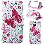Vandot HTC One M8 Wallet Case -  Big Purple Butterfly