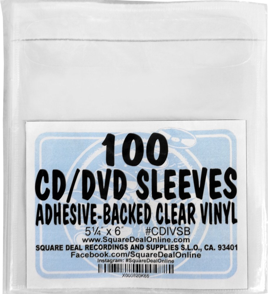 """SquareDealOnline - CDIVSB - CD Sleeves - 5.25"""" x 6"""" - Adhesive Backed - Vinyl - Clear - 100 Pack"""