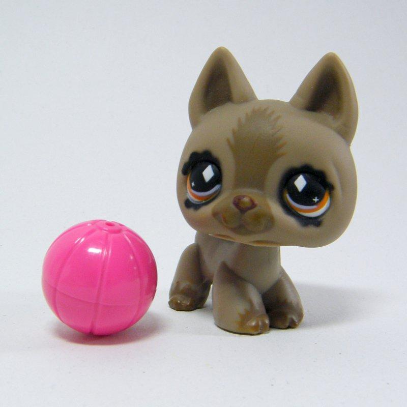 Littlest Pet Shop # 491 German Shepherd Taupe Brown, Diamond Brown Eyes