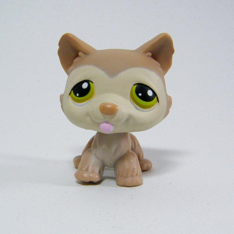 Littlest Pet Shop # 358 HUSKY Dog Taupe Brown Body, Tan Face, Olive Green Eyes