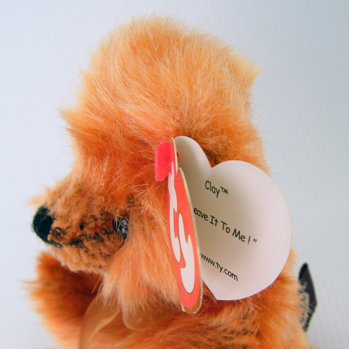 "Ty Attic Treasures CLAY ""Leave It To Me!"" Orange Mohair Teddy Retired 1993 NWT"