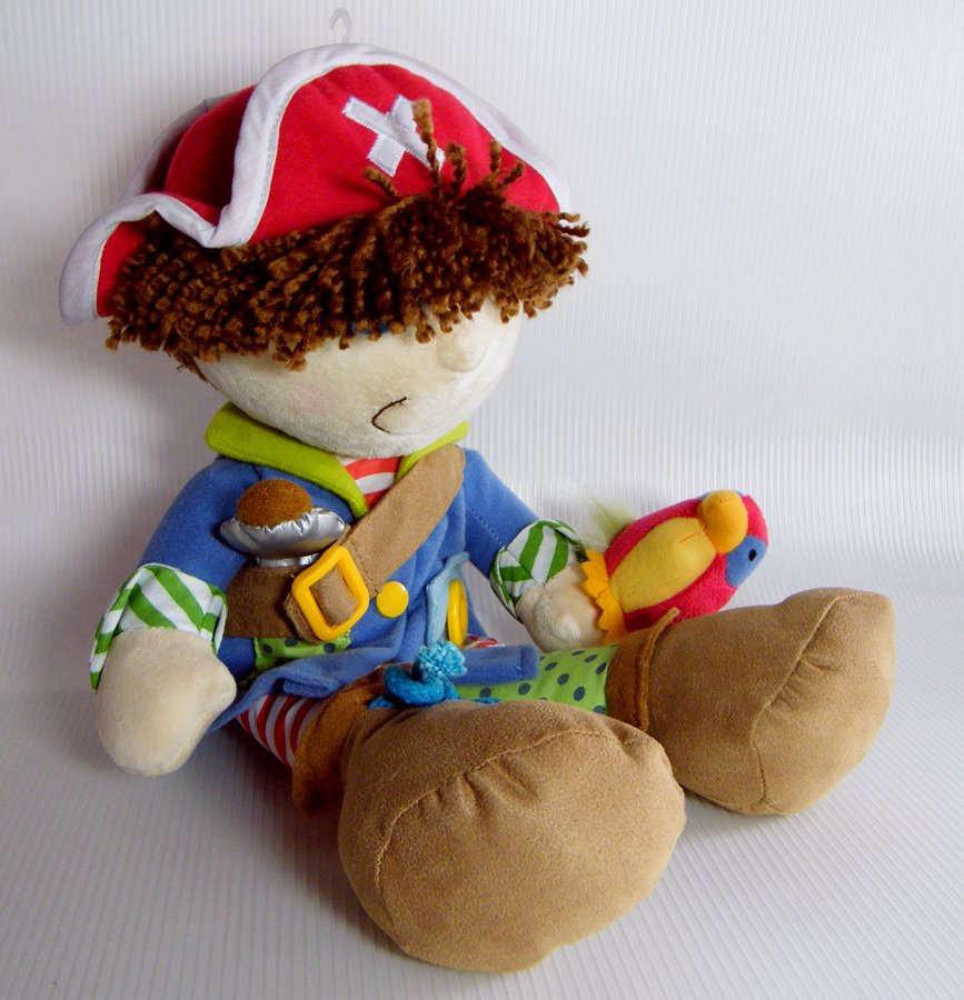 """Dress Up PIRATE 15"""" Activity Doll Teaches Dressing Skills Manahattan Toy"""