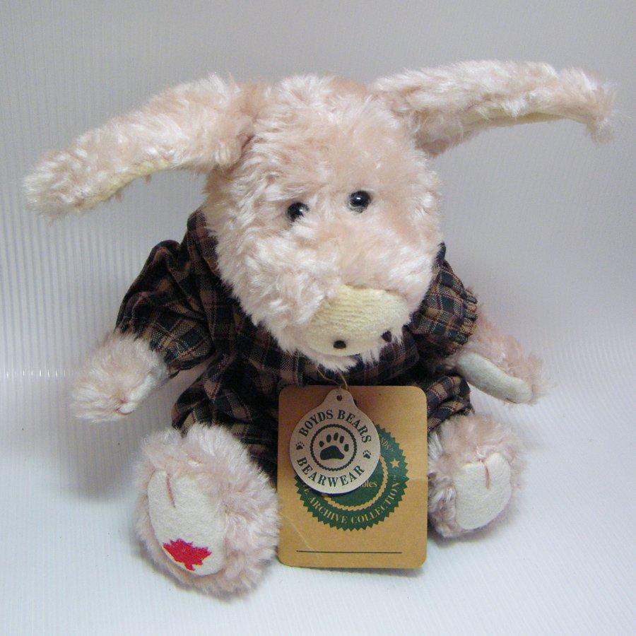 Boyds Bears Primrose Pig, Red Maple Leaf, Plaid Jumper Retired