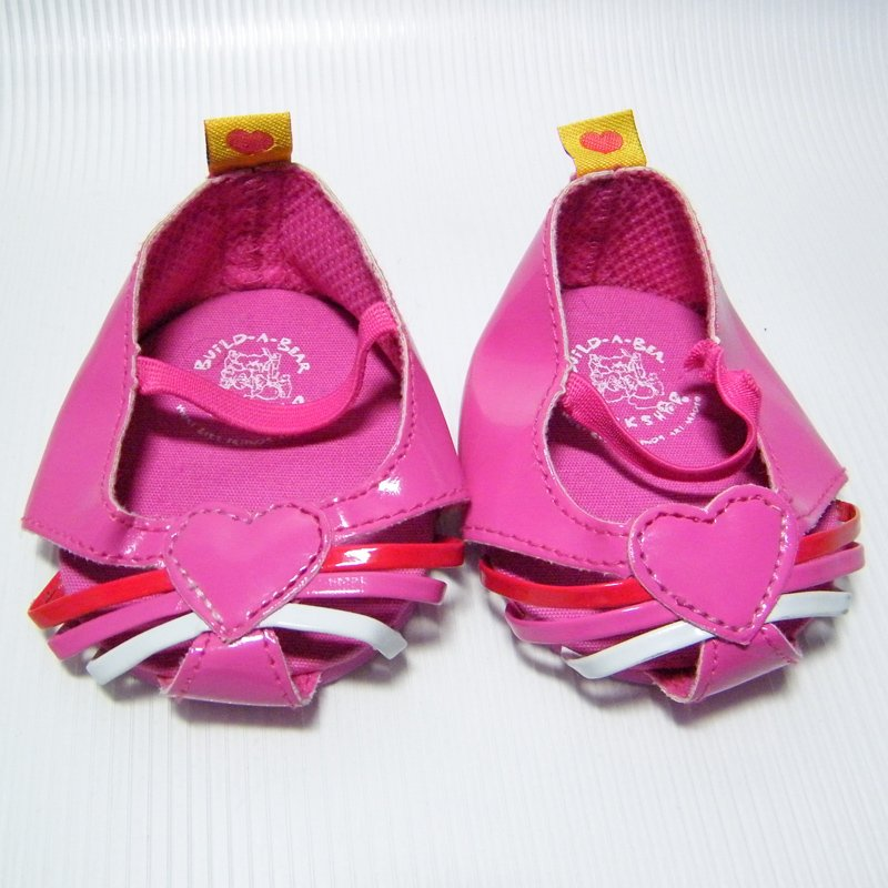 Build A Bear Pink Open Toe Sandals Shoes with Heart and Ankle Straps