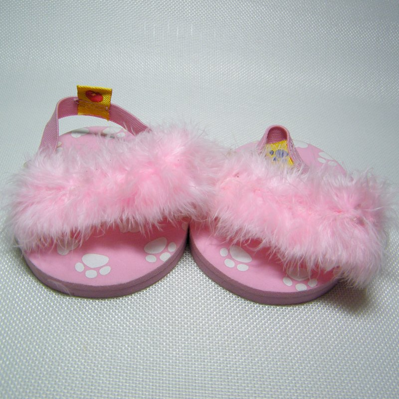 Build A Bear Fluffy Pink Slippers with Feather Straps & Foam Soles BABW