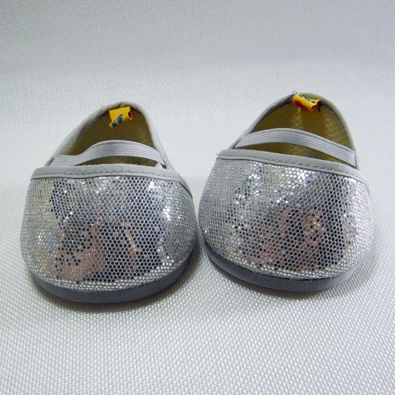 Build A Bear Silver Flat Mary Jane Glitter Sparkle Shoes with Straps