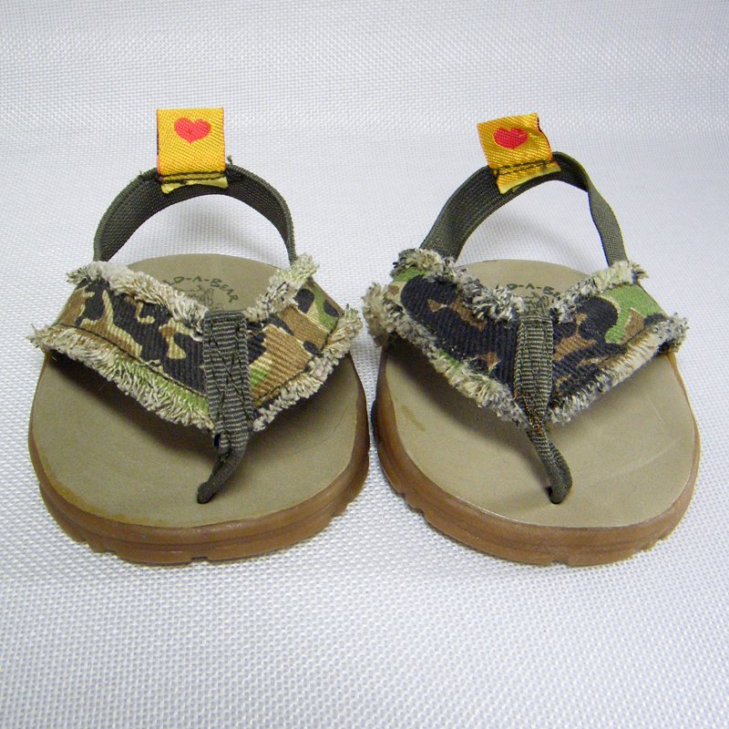 Build A Bear Army Camoflage Thong Sandals BABW