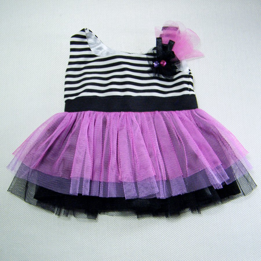 Build A Bear Tightrope Walker Stripe Dress with Black Pink Purple Tulle Clothes
