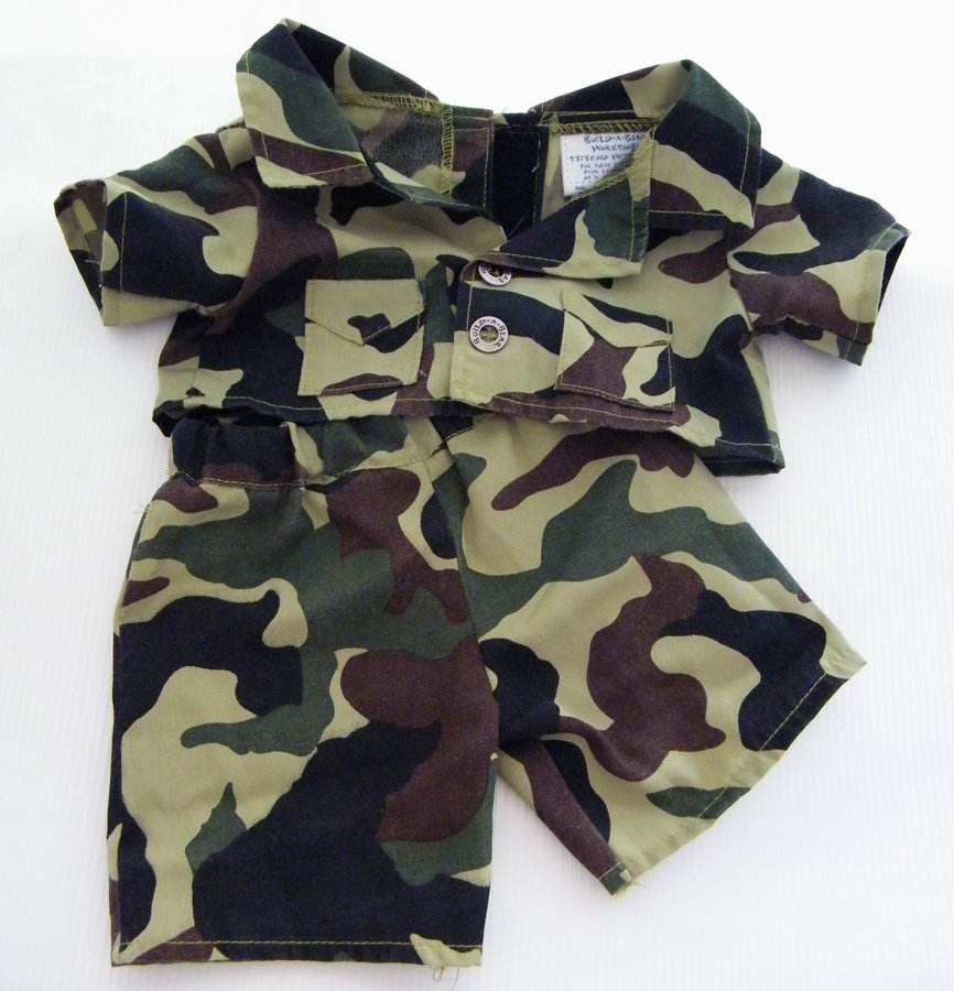 """Build A Bear Jungle Military Camouflage Camping Shirt and Pants 16"""" & Larger"""