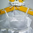 Build A Bear BRIDE White Satin Wedding Dress Gown Slippers Veil Bouquet