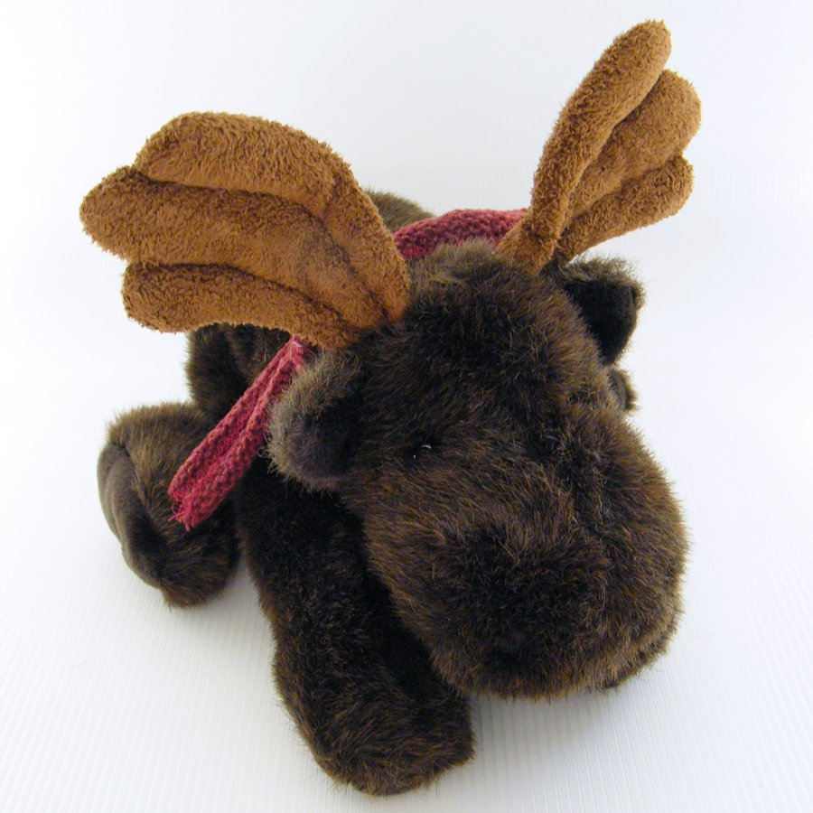 """Russ Berrie 13"""" GUSTO the MOOSE, Poseable Antlers & Burgundy Knit Scarf # 21223"""