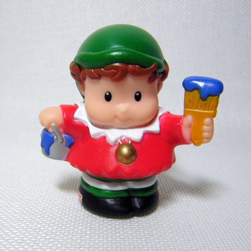 Fisher Price Little People Christmas ELF in Red Shirt & Gold Bells