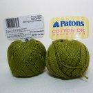 Paton's Cotton DK Mercerized Color 6317 Spring Leaf Green Yarn 2 Skeins