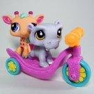 Littlest Pet Shop #1449 Purple HIPPO, #2303 Orange GIRAFFE Jungle Pets, Scooter