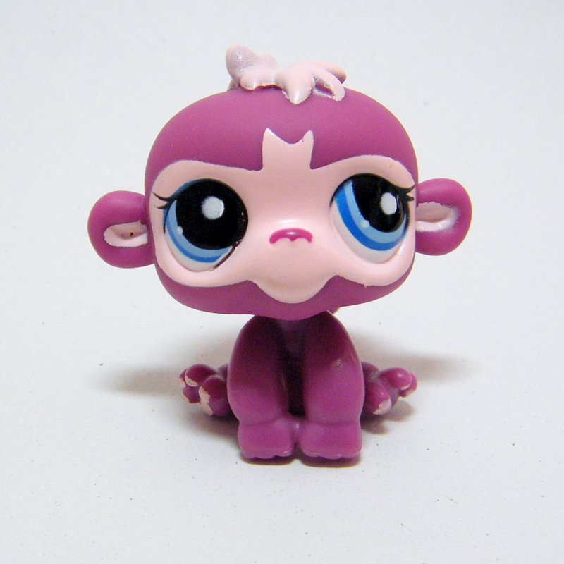 Littlest Pet Shop # 1737 MONKEY Primate with Tail Magenta w Blue Eyes