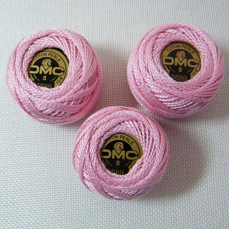 DMC Pearl 3689 Sz5 Light Mauve Crochet Pearl Cotton Size 5 (48m-10g) France