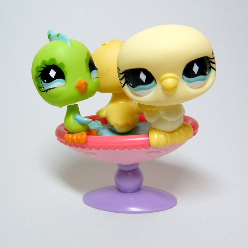 Littlest Pet Shop # 472 512 1995 CHAFFINCH Parakeet PIGEON CHICK & Bird Bath