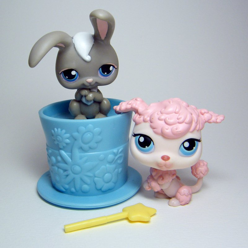 Littlest Pet Shop # 14 Grey RABBIT # 48 Pink POODLE w Magicians Hat