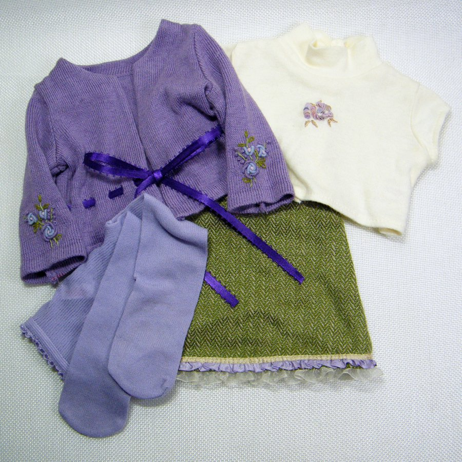 """American Girl GO ANYWHERE Clothes - Top Cardigan Skirt Tights Panties 18"""" Dolls"""