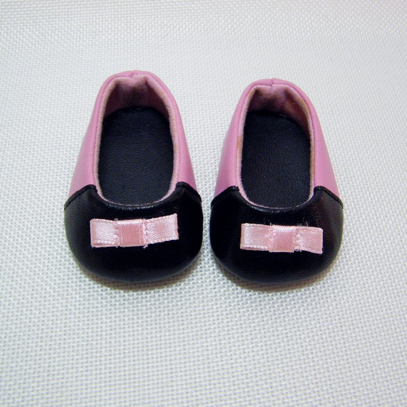 American Girl PINK BALLET SHOES with Black Tipped Toes & Pink Ribbon