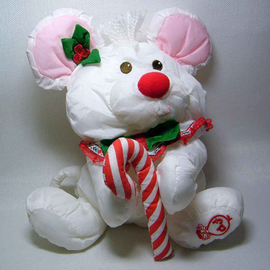 Fisher Price Puffalumps White CHRISTMAS MOUSE Candy Cane 1987 8036