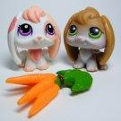 Littlest Pet Shop # 1304 RABBIT Peach Pink & # 185 Lopp Ear Brown Bunny