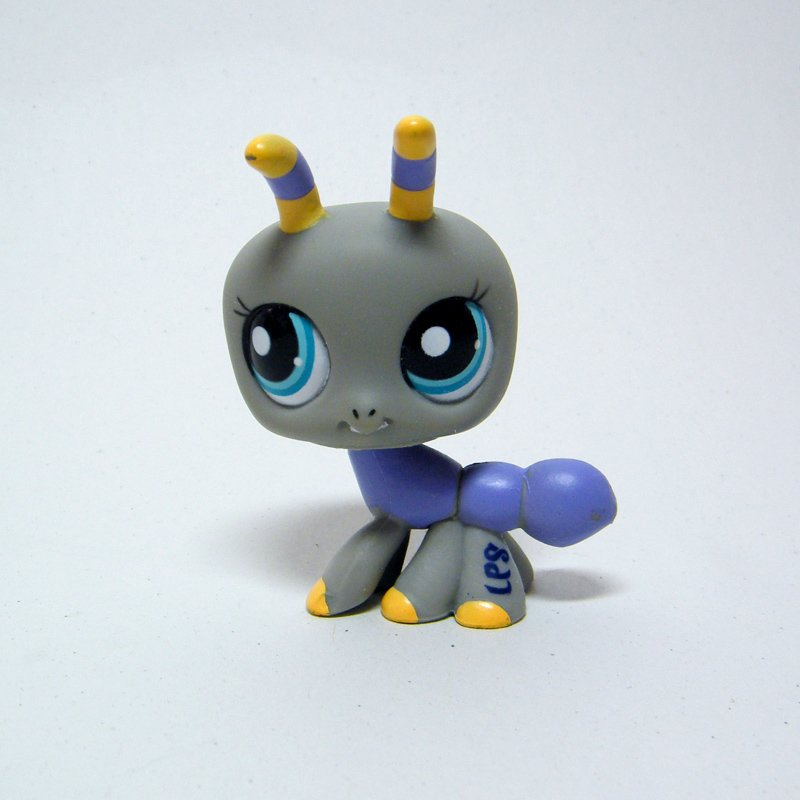 Littlest Pet Shop # 2274 Picnic ANT Grey with Violet & Yellow Stripes, Blue Eyes