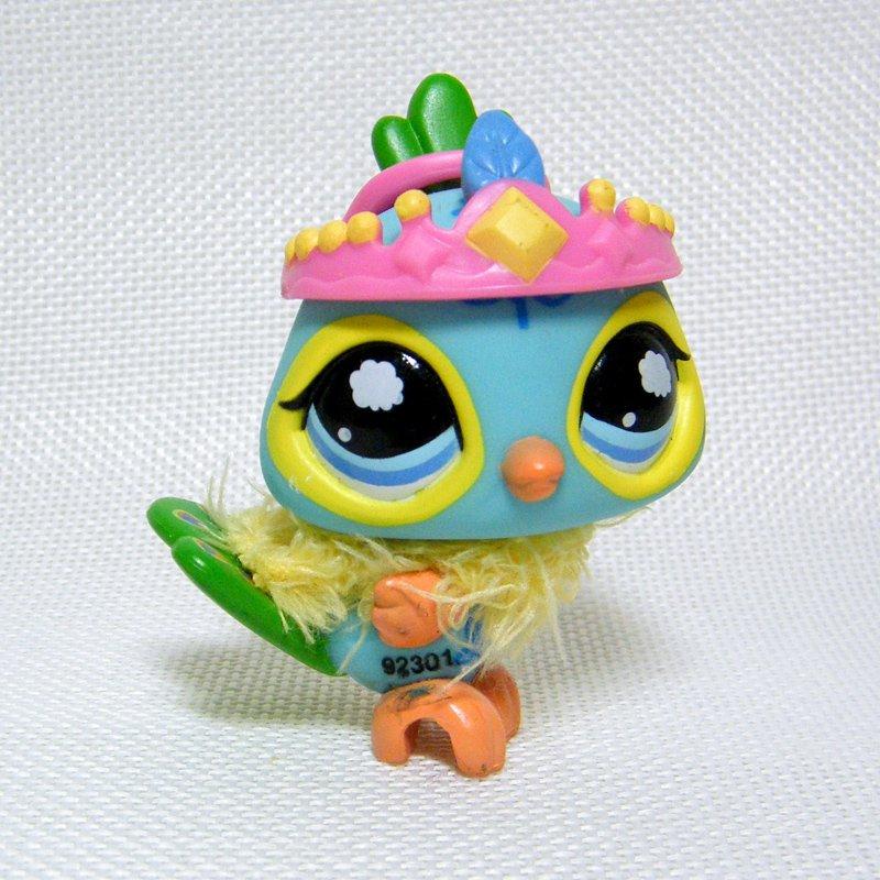 Littlest Pet Shop # 1069 Blue & Green Peacock, Cloudburst Eyes Postcard Pets